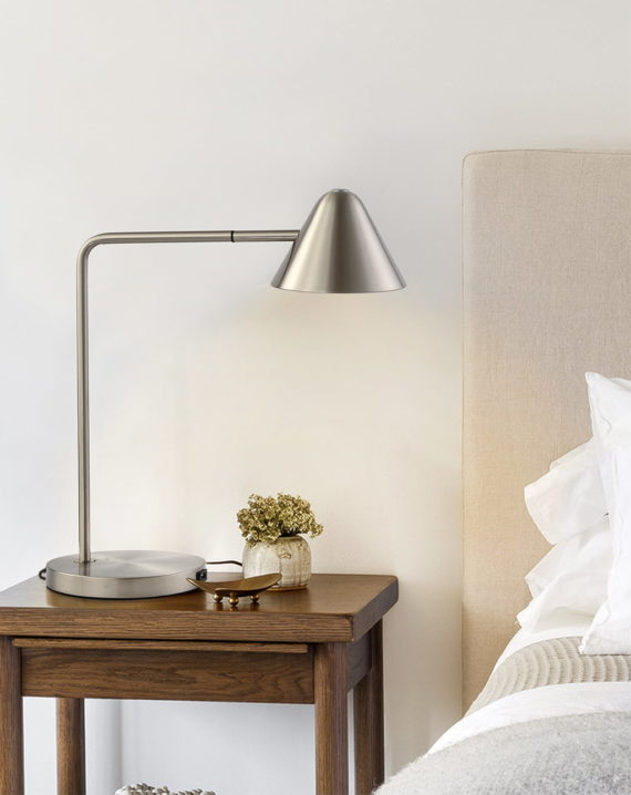 Cove Table Lamp (Satin Nickel) Lifestyle