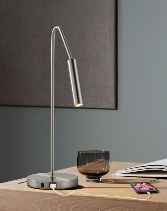 Spotlight Table Lamp (Satin Nickel) Lifestyle