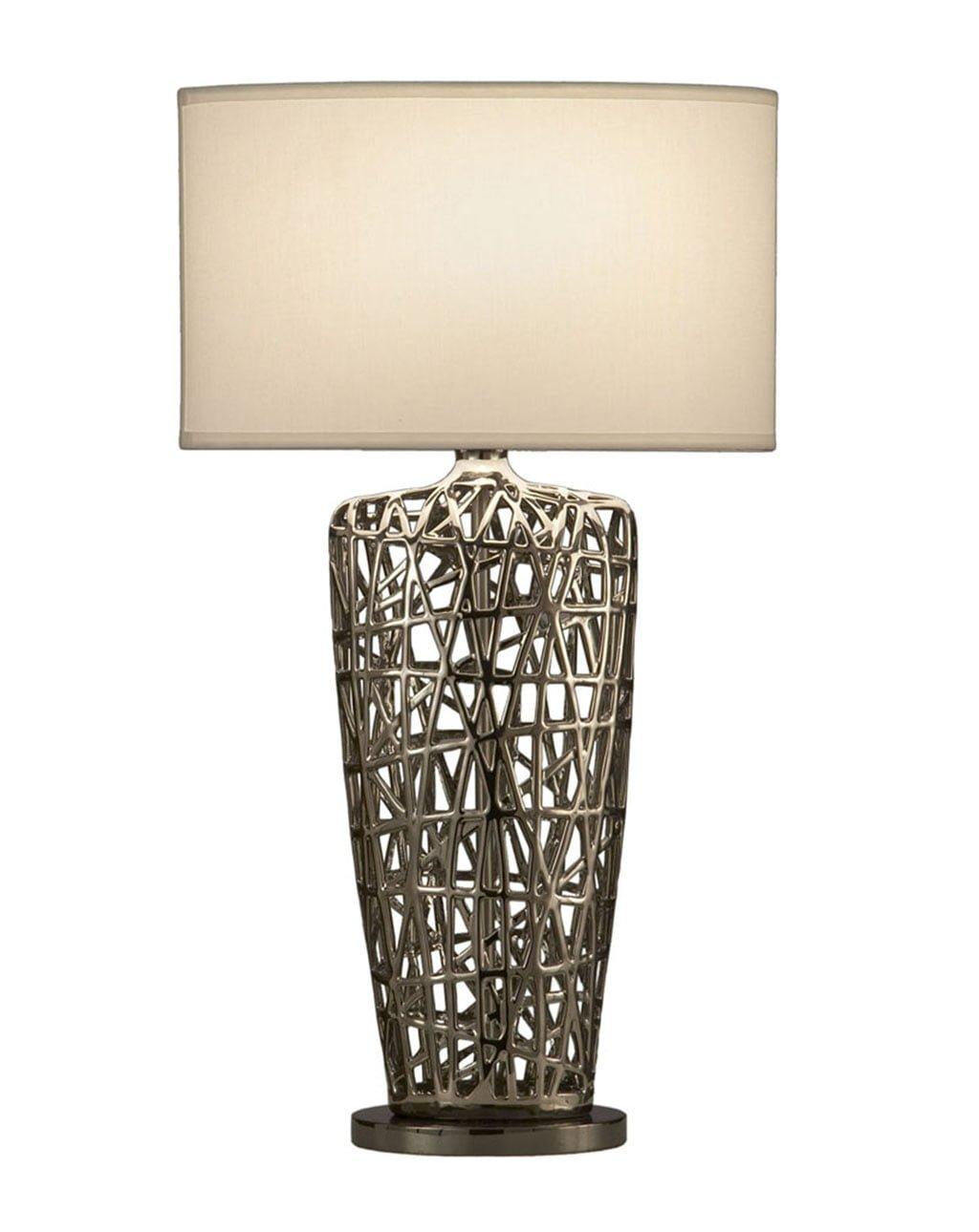 Bird's Nest Heart Table Lamp, Chrome