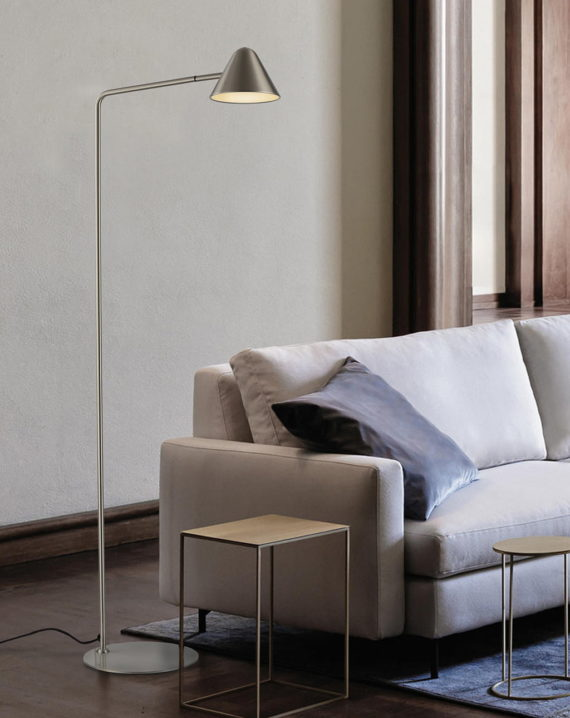 Cove Floor Lamp (Satin Nickel) Lifestyle