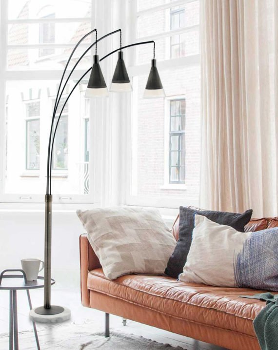 Willow 3-Light Arc Lamp Lifestyle