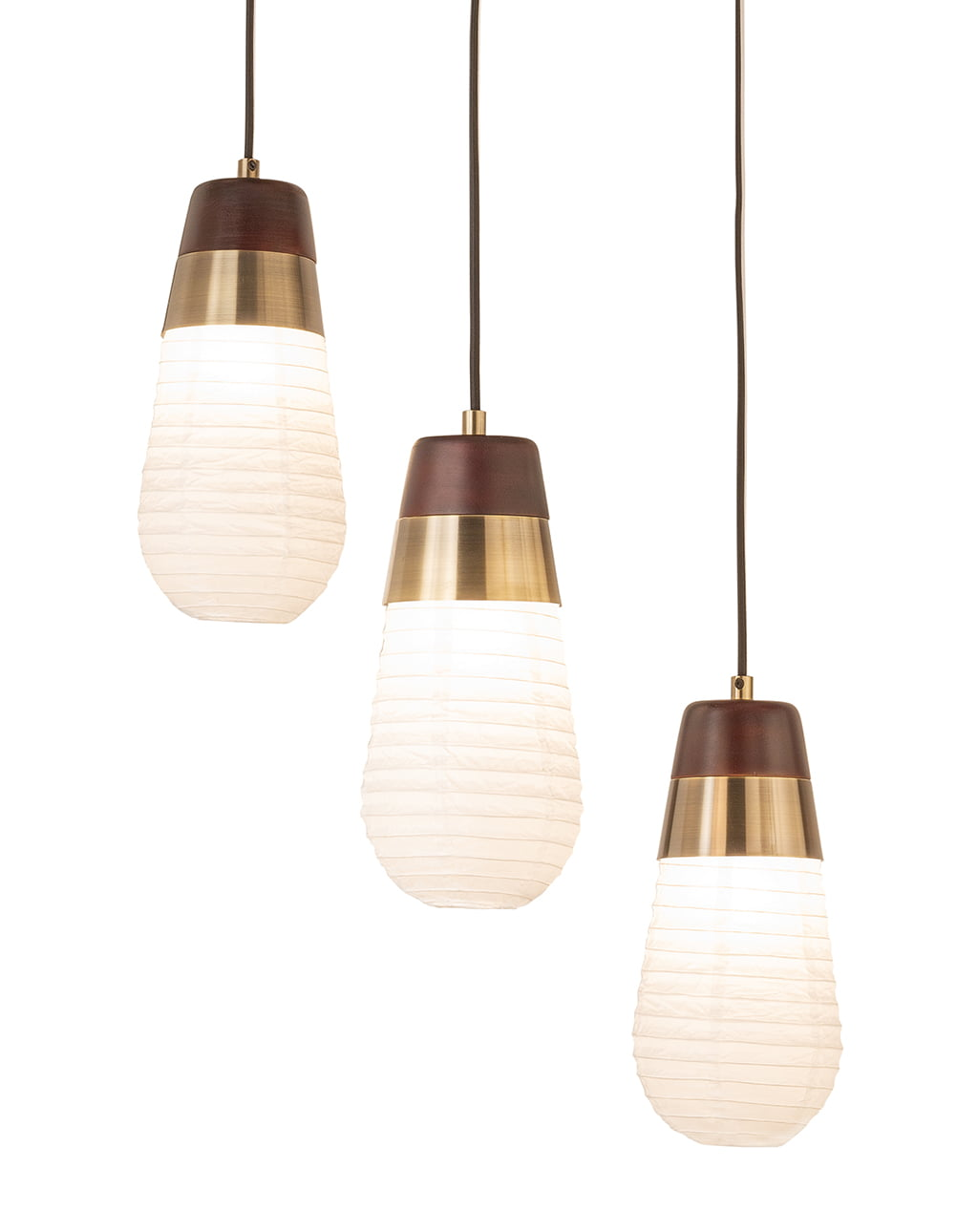 Sunset 3-Light Pendant Lamp, Weathered Brass