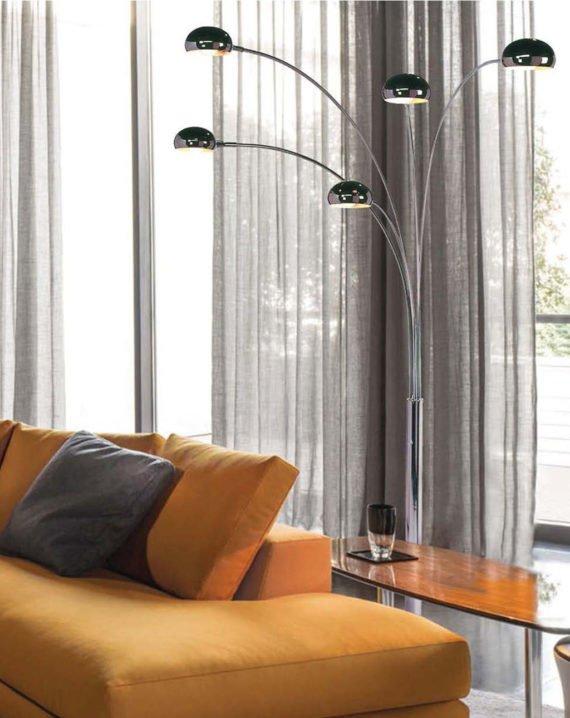 Mushroom 5-Light Arc Floor Lamp Lifestyle