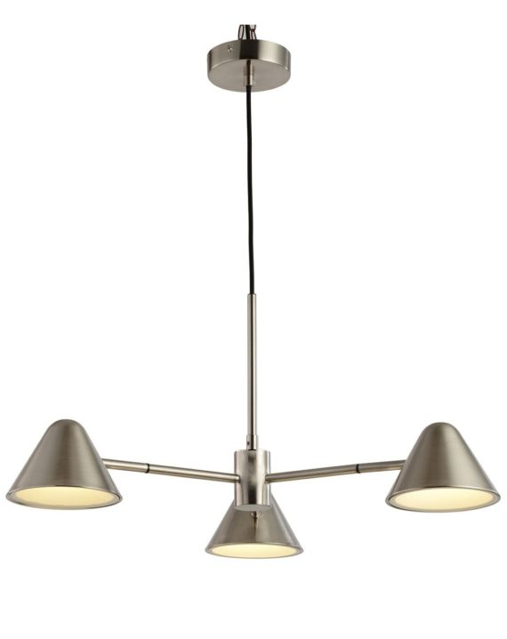 Cove 3-Light Chandelier Satin Nickel