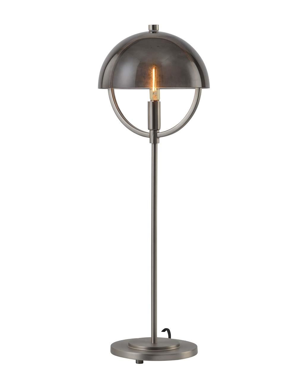 Saturnia Table Lamp, Gunmetal with Fog Glass