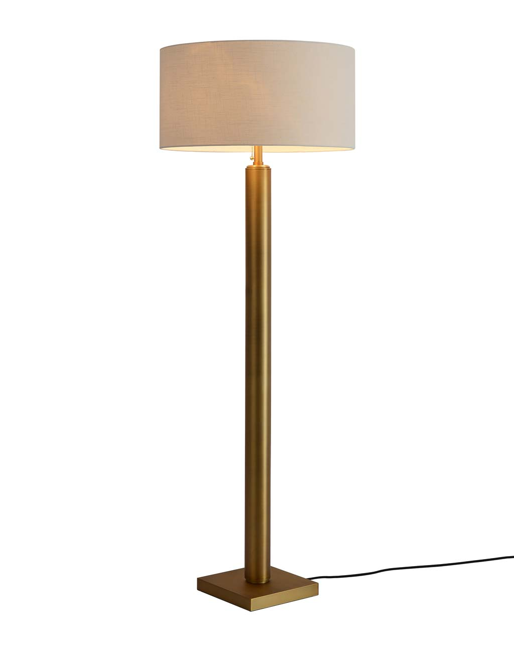 Brentwood Metal Column Floor Lamp, Brushed Brass