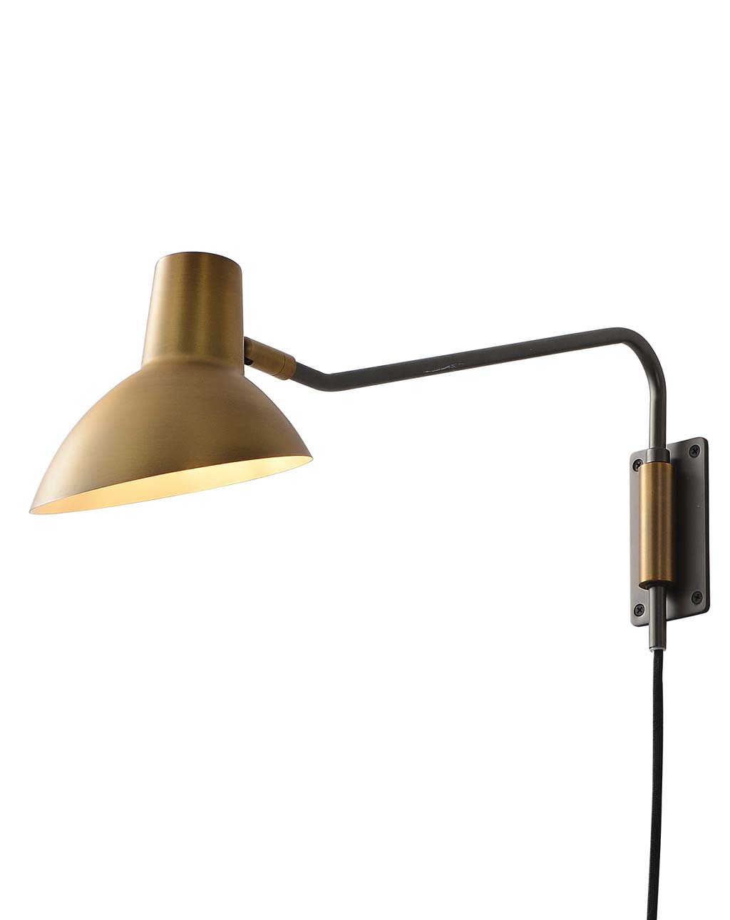 Swing Sconce, Brass Shade with Gunmetal Body