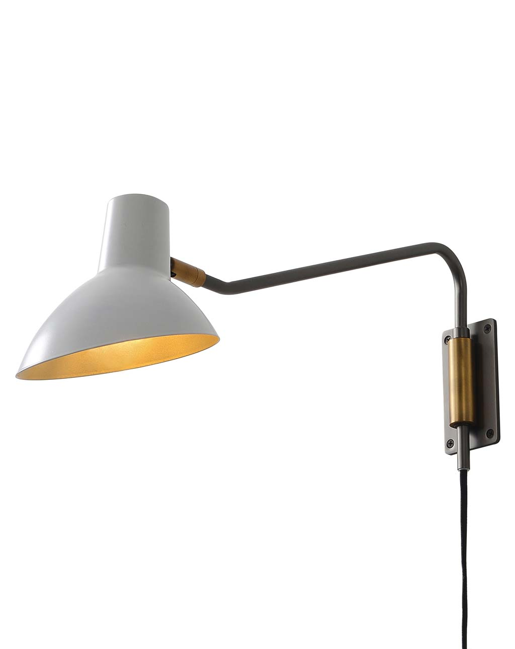 Swing Sconce, White Shade with Gunmetal Body