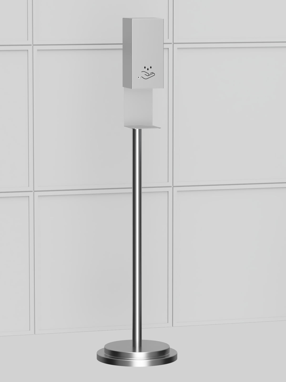 Hand Sanitizer Floor Stand, Satin Nickel